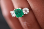 Colombian Emerald And Diamond Three Stone Ring