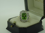 Antique Peridot And Diamond Cluster Ring